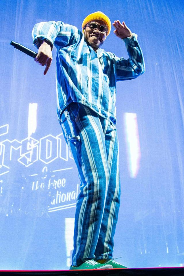 <p>WHAT: Levi's Made & Crafted</p> <p>WHERE: Performing at Alexandra Palace in London</p> <p>WHEN: March 15, 2019</p> <p>WHY: The only thing better than this matching set/tinted shades/pop-color beanie combo is how .Paak is wearing 'em all.</p>