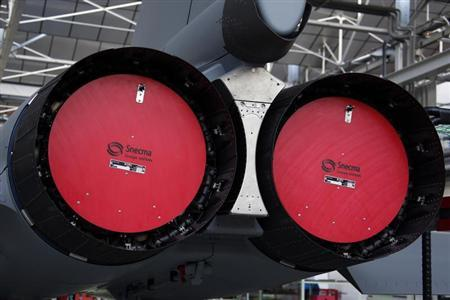 View of a M88 engines, produced by Snecma and which powers a Rafale jet fighter, are seen at the assembly line in the factory of French aircraft manufacturer Dassault Aviation in Merignac
