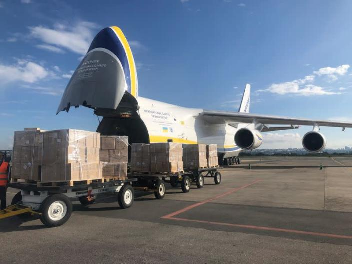 An Antonov An-124 cargo plane with masks from China ordered by Brazil, is seen after arrival at Brasilia's airpot, amid the coronavirus disease (COVID-19) outbreak