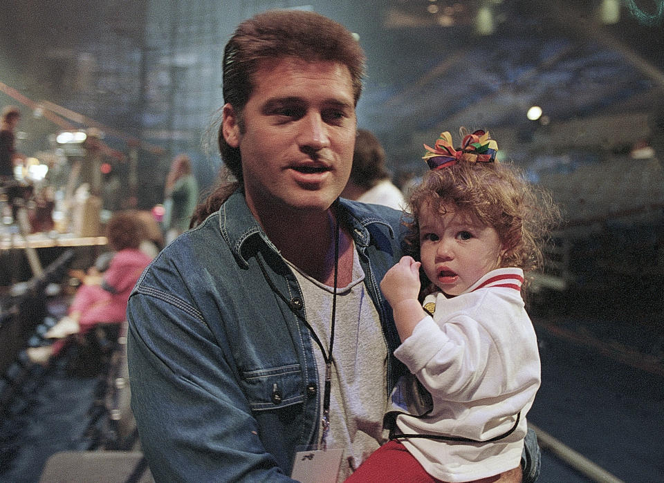 Memphis - October 08: Singer/Songwriter Billy Ray Cyrus and daughter Miley Cyrus attends Elvis: The Tribute at The Pyramid Arena in Memphis Tennessee October 08, 1994 (Photo By Rick Diamond/Getty Images)