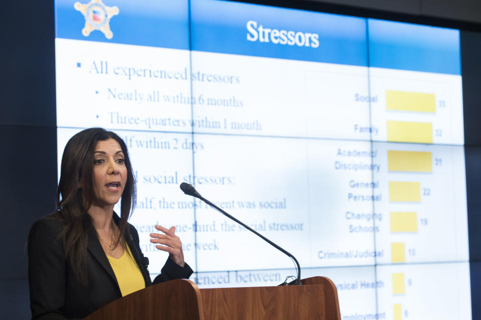 National Threat Assessment Center's Chief Lina Alathari announces the release of the Secret Service National Threat Assessment Center's Protecting America's Schools report, in Washington, Thursday, Nov. 7, 2019. The report examines 41-targeted attacks that occurred in schools between 2008 and 2017. (AP Photo/Cliff Owen)