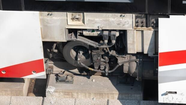 The axle of an LRT train on Ottawa's Confederation Line came dislodged from the rail on Aug. 8 prompting an investigation by the Transportation Safety Board of Canada. (Alexander Behne/CBC - image credit)