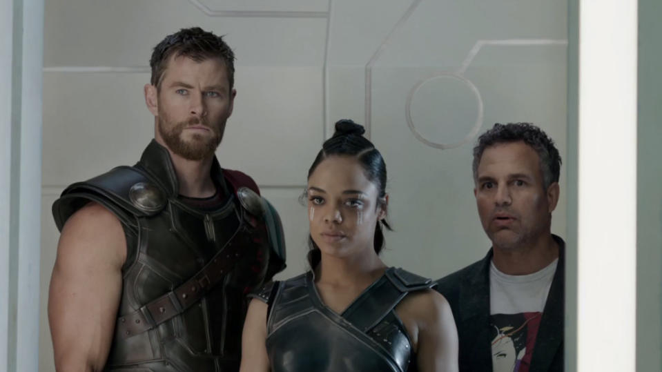 Chris Hemsworth, Tessa Thompson and Mark Ruffalo in 'Thor: Ragnarok'. (Credit: Marvel)