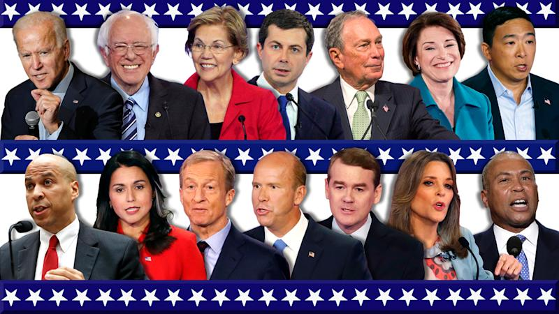 Top from left: Joe biden, Bernie Sanders, Elizabeth Warren, Pete Buttigieg, Michale Bloomberg, Amy Klobuchar and Andrew Yang. Bottom: Cory Booker, Tulsi Gabbard, Tom Steyer, John Delaney, Michael Bennet, Marianne Williamson and Deval Patrick. (Photo illustration: Yahoo News; photos: AP)