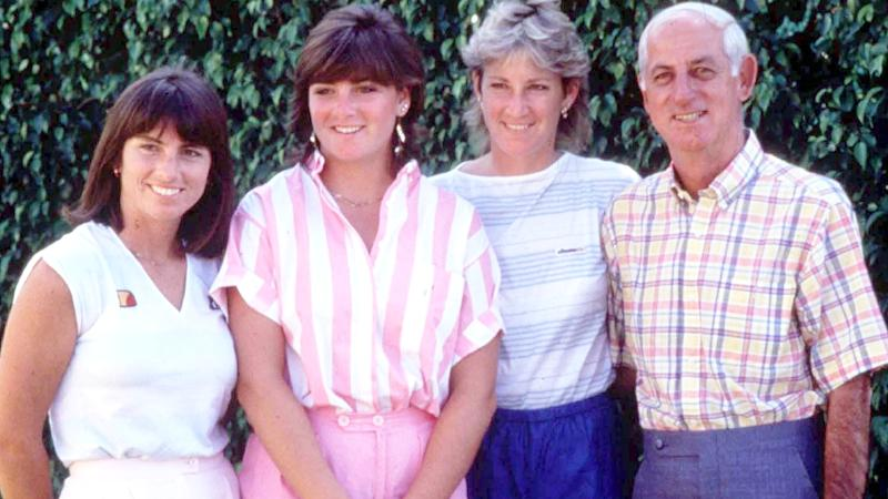 Jeanne, Clare, Chris and father Jimmy Evert, pictured here in the 1980s.
