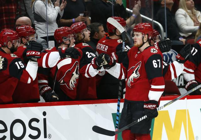 Arizona Coyotes left wing Lawson Crouse (67) celebrates his goal against the Anaheim Ducks with teammates on the bench during the first period of an NHL hockey game Tuesday, March 5, 2019, in Glendale, Ariz. (AP Photo/Ross D. Franklin)