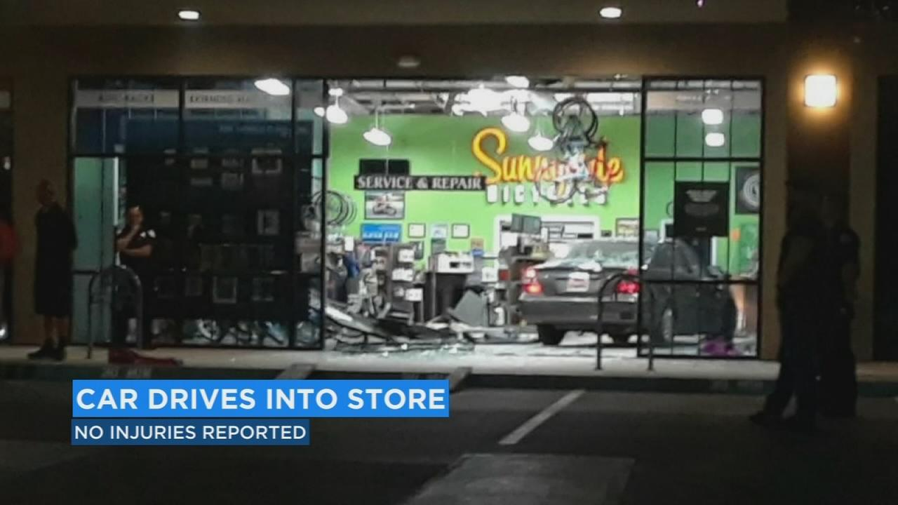 A local bike store will be closed until Tuesday after a car ended up inside the shop.