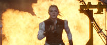 """This image released by Marvel Studios shows Florence Pugh in a scene from """"Black Widow."""" (Marvel Studios-Disney via AP)"""