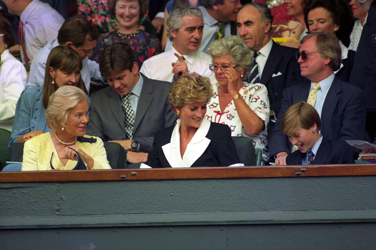 Princess Diana sits in the centre of the royal box flanked by the Duchess of Kent and a young Prince William at the women's singles finals in 1994. <em>[Photo: PA]</em>
