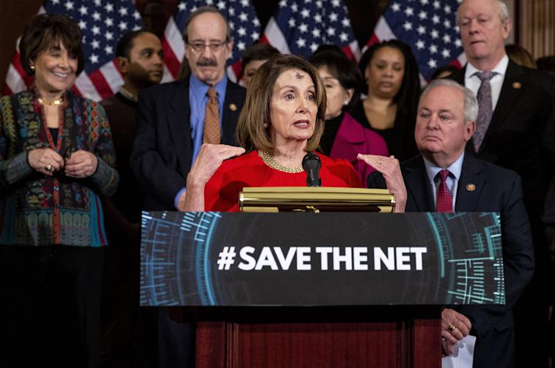 Nancy Pelosi speaks at a March 6 news conference on Democrats' bill to restore Obama-era net neutrality rules eliminated by the GOP-controlled Federal Communications Commission. (Bloomberg via Getty Images)