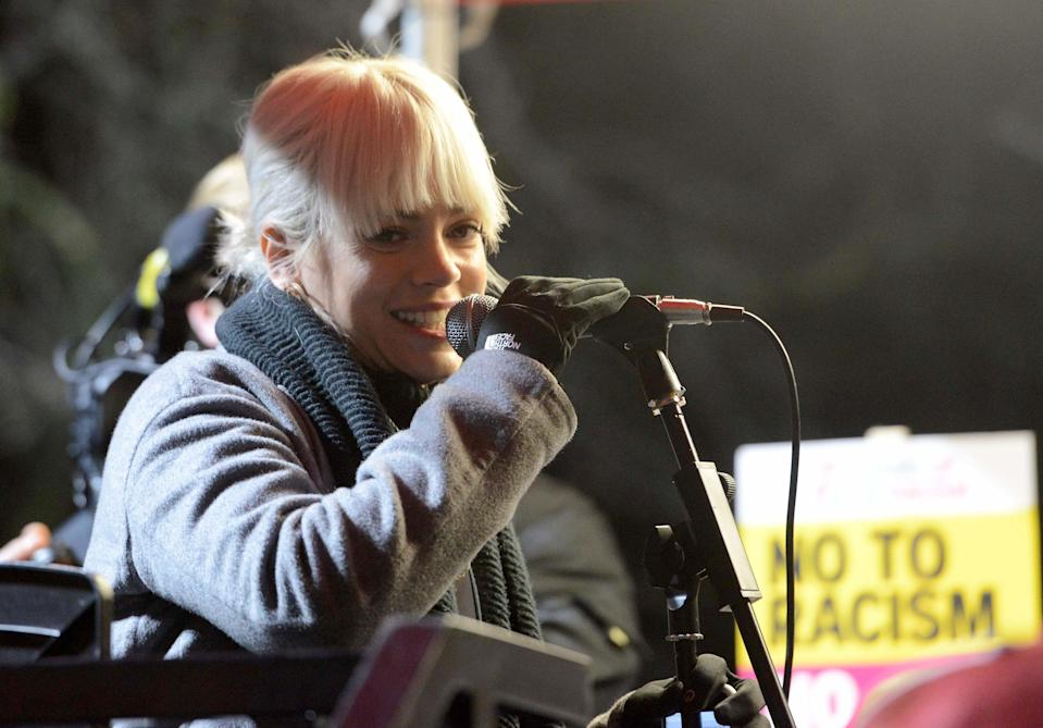 Lily Allen at the Donald Trump protest at the US Embassy in London. (Credit: REX)