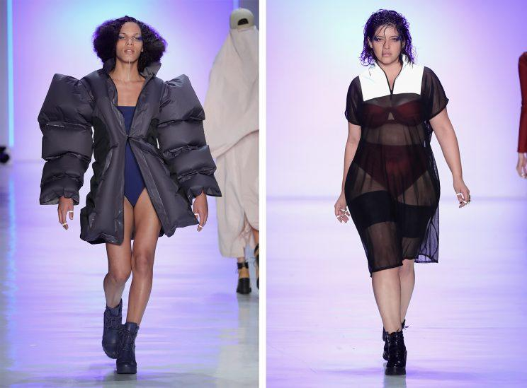 Chromat is committed to diversity in its model castings — this year, the brand featured trans model of color Maya Monès, and plus-size model Denise Bidot. (Photo: Getty Images)