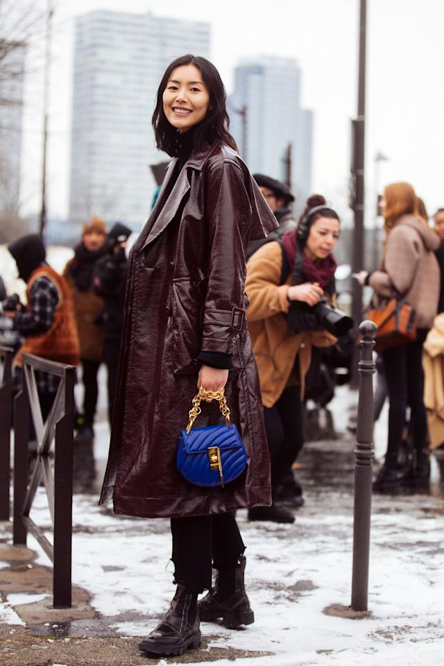 <p>A waxed trench adds texture to any look.  Pair it with a chunky chelsea boot and mini bag in a bright hue.</p>