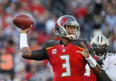 Dec 31, 2017; Tampa, FL, USA; Tampa Bay Buccaneers quarterback Jameis Winston (3) drops to throw a pass during the first quarter against the New Orleans Saints at Raymond James Stadium. Mandatory Credit: Reinhold Matay-USA TODAY Sports