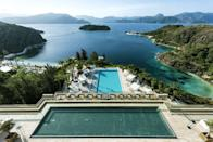 """<p>The infinity pool at <a href=""""https://urldefense.com/v3/__http:/www.dmarisbay.com/__;!!Ivohdkk!zWfiMAQlMHAn2Pq89bGc8AQz_cW2e6cM899JzD34nAjnQ7QL4g14jCcvz84csV9Y5r-1Enw$"""" rel=""""nofollow noopener"""" target=""""_blank"""" data-ylk=""""slk:D-Maris Bay"""" class=""""link rapid-noclick-resp"""">D-Maris Bay</a> offers breathtaking views of the Datça Peninsula where the Aegean Sea meets the Mediterranean. Known as Green Hill panoramic point, it's one of the most idyllic places to watch the sunset in the country.</p>"""