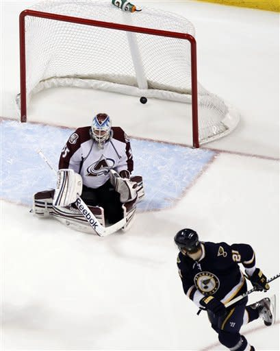 St. Louis Blues' Patrik Berglund, of Sweden, watches as his tipped shot finds the back of the net for a goal past Colorado Avalanche goalie Jean-Sebastien Giguere, top, during the first period of an NHL hockey game Saturday, Jan. 7, 2012, in St. Louis. (AP Photo/Jeff Roberson)