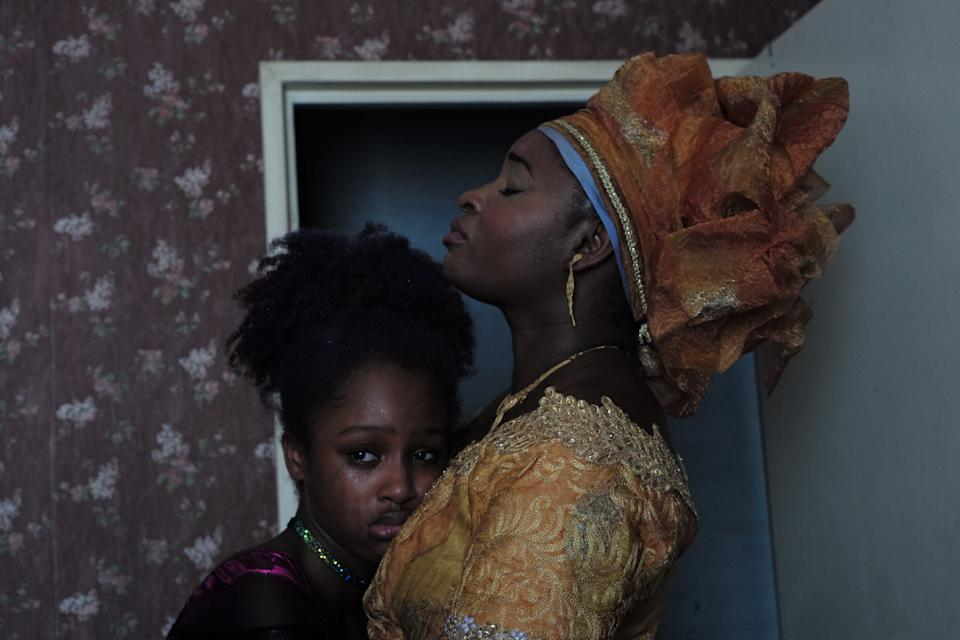 """In the controversial French drama """"Cuties,"""" Fathia Youssouf (left) plays an 11-year-old Senegalese immigrant who rebels against the conservative beliefs of her mother (Maïmouna Gueye) when she becomes interested in a Parisian dance crew."""