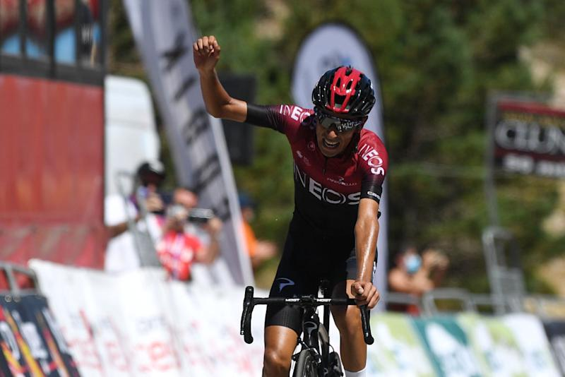 LAGUNAS DE NEILA SPAIN AUGUST 01 Arrival Ivan Ramiro Sosa Cuervo of Colombia and Team INEOS Celebration during the 42nd Vuelta a Burgos 2020 Stage 5 a 158km stage from Covarrubias to Lagunas de Neila 1872m VueltaBurgos on August 01 2020 in Lagunas de Neila Spain Photo by David RamosGetty Images