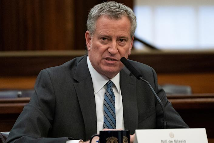 New York City Mayor Bill de Blasio speaks during a news conference for the outbreak of Coronavirus disease (COVID-19) at City Hall in the Manhattan borough of New York City, New York, U.S., March 17, 2020. (Jeenah Moon/Reuters)