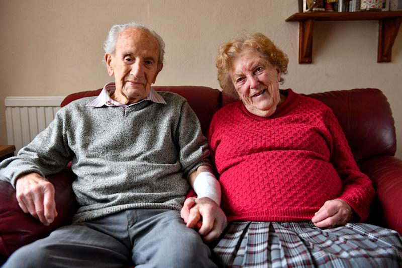 John Cox, 102, with his wife Joan, 97 at their home in Lincoln, where he fought off a conman burglar who tried to gain access on Tuesday.