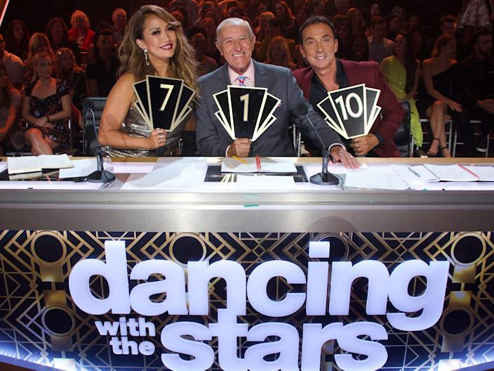 """""""Dance with the stars""""  Judges Carrie Ann Inaba, Len Goodman and Bruno Tonioli in 2019"""