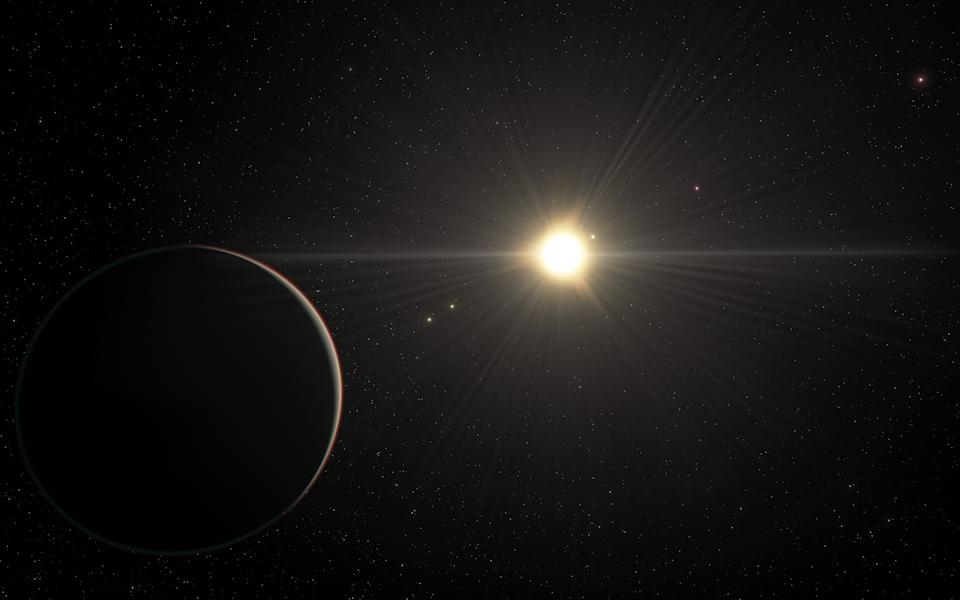 The system boasts six exoplanets and that all but the one closest to the star are locked in a rare rhythm as they move in their orbits (ESO)