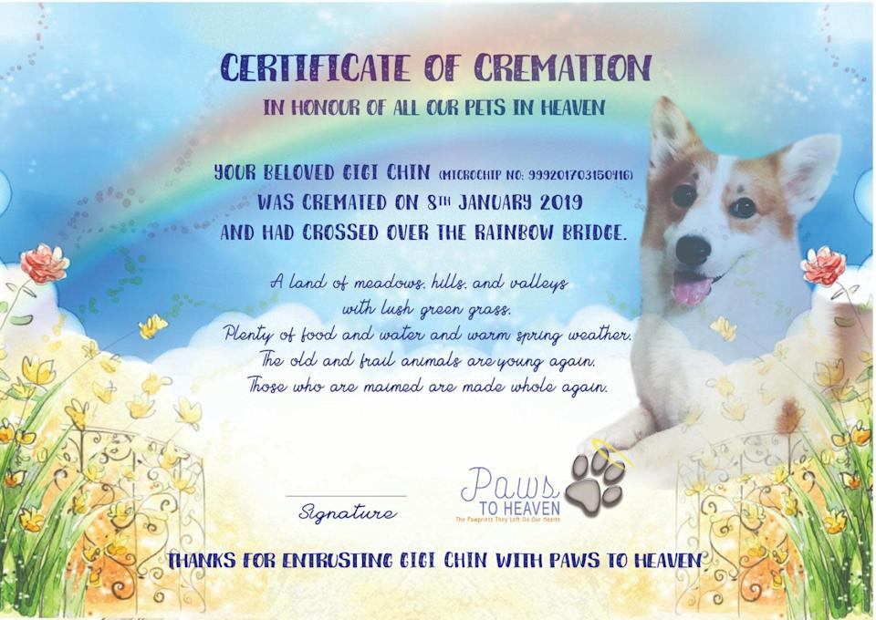 (Cremation certificate courtesy of Paws to Heaven)