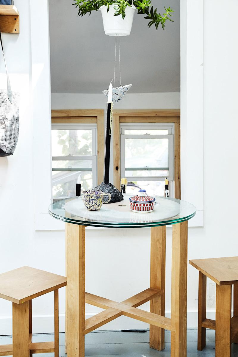 There's even space for a quirky breakfast nook, with a table Elise made herself.