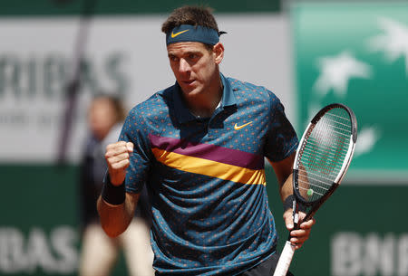 Tennis - French Open - Roland Garros, Paris, France - May 28, 2019. Argentina's Juan Martin del Potro celebrates after winning his first round match against Chile's Nicolas Jarry. REUTERS/Vincent Kessler