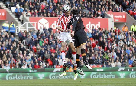 Britain Soccer Football - Stoke City v Hull City - Premier League - bet365 Stadium - 15/4/17 Stoke City's Peter Crouch scores their second goal Action Images via Reuters / Carl Recine Livepic