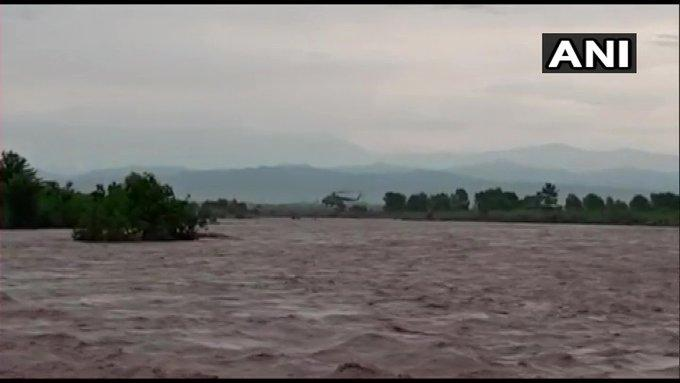 A visual from the spot where the IAF rescues seven people trapped in Kathua, Jammu and Kashmir.