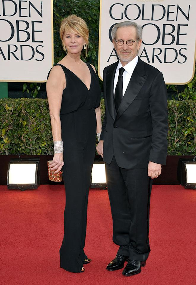 Steven Spielberg and Kate Capshaw arrive at the 70th Annual Golden Globe Awards at the Beverly Hilton in Beverly Hills, CA on January 13, 2013.