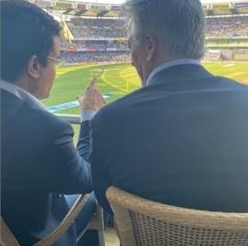 Nostalgic moment for fans as Sourav Ganguly and Steve Waugh reunite at Wankhede