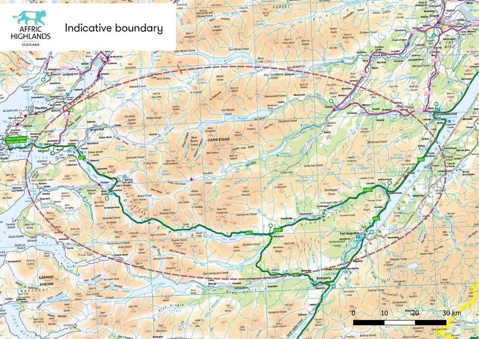 A map of the area Affric Highlands would potentially cover (Trees for Life/PA)