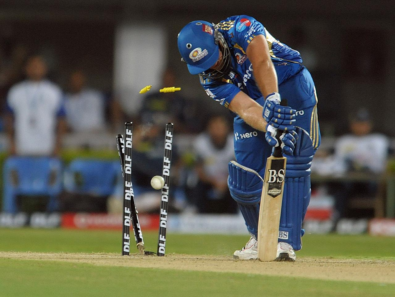 Mumbai Indians  Richard Levi is bowld by Deccan Chargers  Dale Steyn during the IPL Twenty20  match  at Dr. Y.S. Rajasekhara Reddy Cricket Stadium in Visakhapatnam on April 9, 2012.AFP PHOTO / Noah SEELAM.RESTRICTED TO EDITORIAL USE. MOBILE USE WITHIN NEWS PACKAGE. ... (Photo credit should read NOAH SEELAM/AFP/Getty Images)