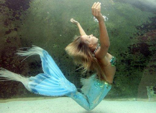 """File photo of Hannah the Mermaid in the Mermaid Lagoon exhibit at the Sydney Aquarium. The United States government has assured citizens that much like zombies, mermaids probably do not exist. """"Mermaids -- those half-human, half-fish sirens of the sea -- are legendary sea creatures."""""""