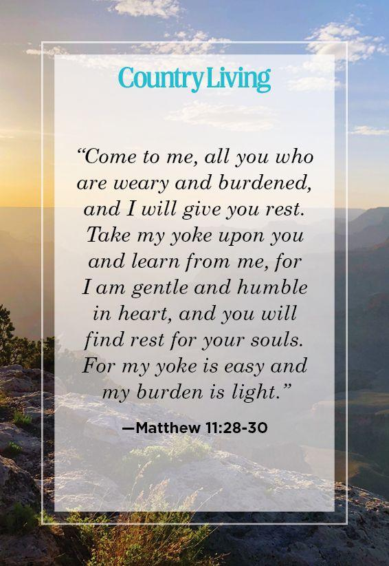 """<p>""""Come to me, all you who are weary and burdened, and I will give you rest. Take my yoke upon you and learn from me, for I am gentle and humble in heart, and you will find rest for your souls. For my yoke is easy and my burden is light.""""</p>"""