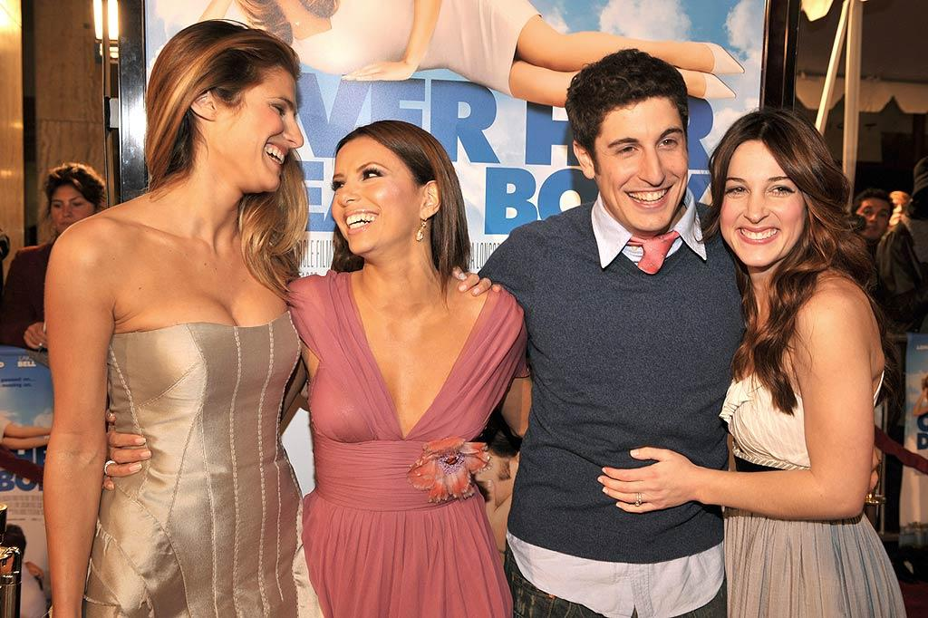 "Eva and her adorable co-stars (Lake Bell, Jason Biggs, and Lindsay Sloane) pose for the photographers before the screening begins. Lester Cohen/<a href=""http://www.wireimage.com"" target=""new"">WireImage.com</a> - January 29, 2008"