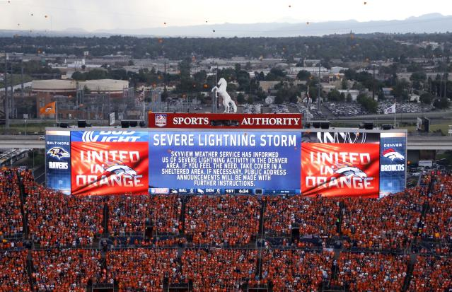 Fans are advised of severe weather prior to an NFL football game between the Denver Broncos and the Baltimore Ravens, Thursday, Sept. 5, 2013, in Denver. (AP Photo/Brennan Linsley)