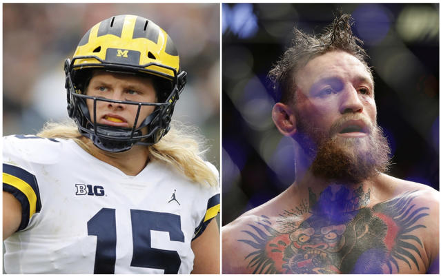 FILE - In this combination of 2018 file photos Michigan defensive lineman Chase Winovich, left, reacts after a play during the first half of an NCAA college football game against Michigan State , on Oct. 20, 2018, in East Lansing, Mich., and at right, Conor McGregor reacts after losing to Khabib Nurmagomedov in a lightweight title mixed martial arts bout at UFC 229 in Las Vegas, on Oct. 6, 2018. Winovich chose to stay in college to chase championships and improve his standing for the NFL draft. No. 5 Michigan has a path to a Big Ten title and the defensive end appears to be improving his stock for the pros. Winovich is also having a lot of fun along the way and is trying to live life like UFC star McGregor, who he calls a big brother. (AP Photo/Files)