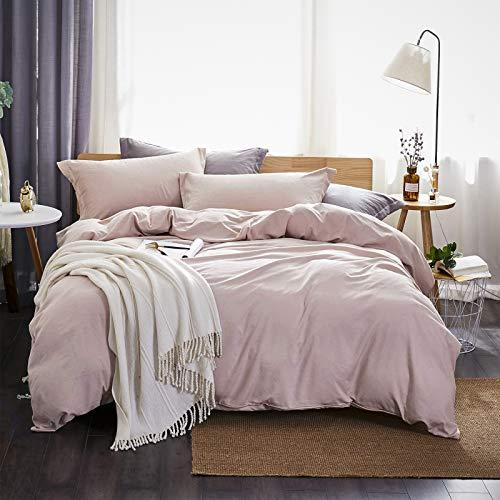 Dreaming Wapiti Duvet Cover Queen,100% Washed Microfiber 3pcs Bedding Duvet Cover Set,Solid Color Soft and Breathable with Zipper Closure & Corner Ties(Pink Mocha,Queen) (Amazon / Amazon)