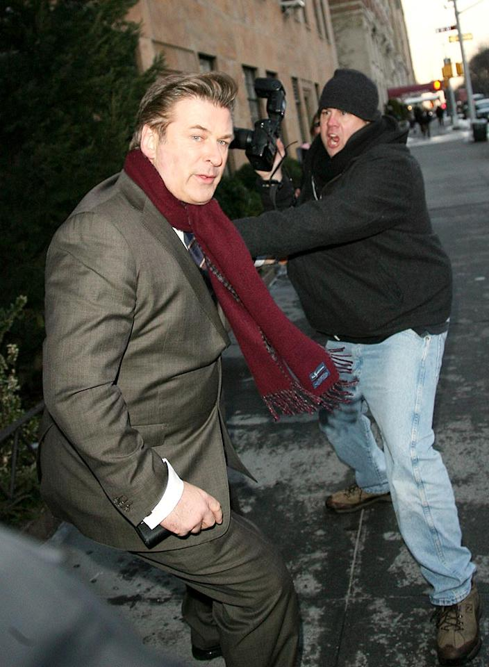 """On Thursday evening, the same day he checked out of a NYC hospital, (after a """"misunderstanding"""" according to his spokesman), Alec Baldwin flew into a rage and grabbed a photographer who was waiting outside his building. Baldwin reportedly yelled, """"This guy! This guy!"""" before police managed to escort him into his building. No charges have been filed. Mauceri/Donnelly/<a href=""""http://www.infdaily.com"""" target=""""new"""">INFDaily.com</a> - February 11, 2010"""