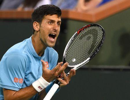 Mar 14, 2017; Indian Wells, CA, USA; Novak Djokovic (SRB) reacts during his third round match against Juan Martin Del Potro (not pictured) in the BNP Paribas Open at the Indian Wells Tennis Garden. Mandatory Credit: Jayne Kamin-Oncea-USA TODAY Sports