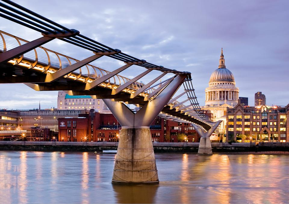 """<b>Millennium Bridge</b><br> Looking at St. Paul's Cathedral and the Millennium Bridge in London.<br> Photograph by <a href=""""http://ngm.nationalgeographic.com/myshot/gallery/209929"""" rel=""""nofollow noopener"""" target=""""_blank"""" data-ylk=""""slk:Philip Cozzolino"""" class=""""link rapid-noclick-resp"""">Philip Cozzolino</a>, <a href=""""http://ngm.nationalgeographic.com/myshot/"""" rel=""""nofollow noopener"""" target=""""_blank"""" data-ylk=""""slk:My Shot"""" class=""""link rapid-noclick-resp"""">My Shot</a>"""