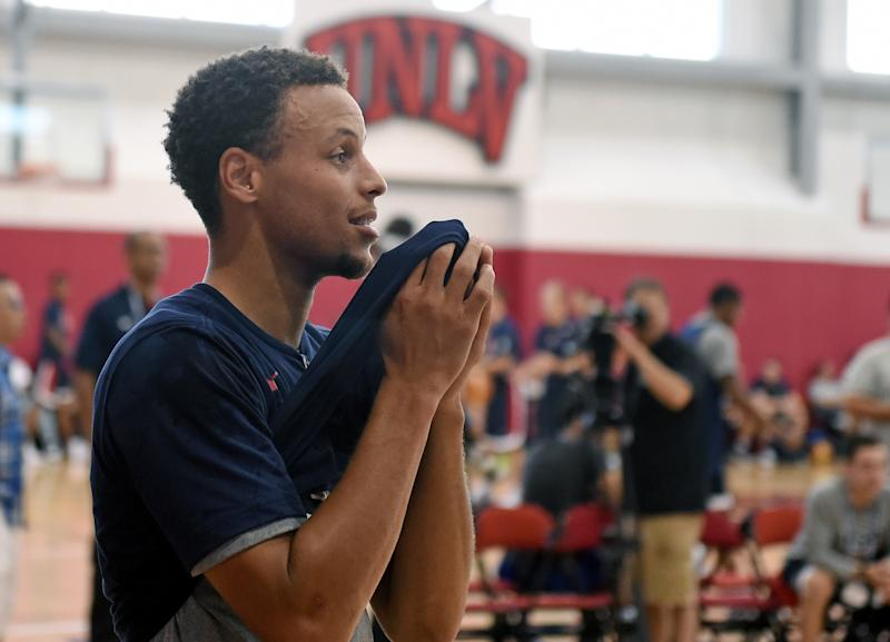 LAS VEGAS, NV - AUGUST 12: Stephen Curry #49 of the 2015 USA Basketball Men's National Team reacts during a practice session at the Mendenhall Center on August 12, 2015 in Las Vegas, Nevada. (Photo by Ethan Miller/Getty Images)