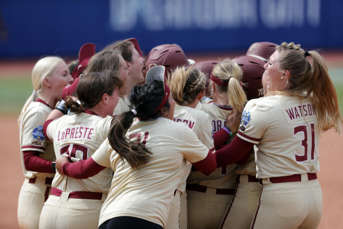 Florida State players celebrates after defeating Arizona in an NCAA Women's College World Series softball game on Saturday, June 5, 2021, in Oklahoma City. (AP Photo/Alonzo Adams)