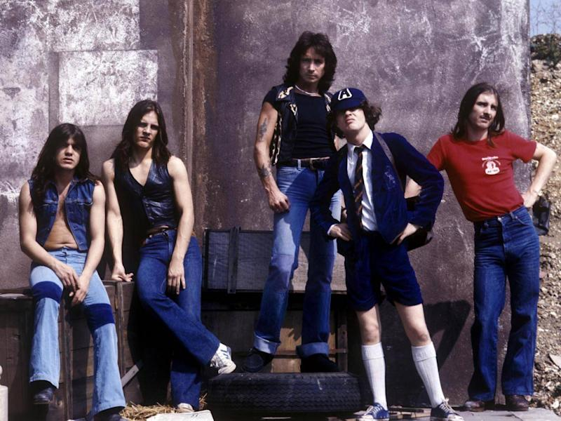AC/DC line up in the 1980s (Rex)