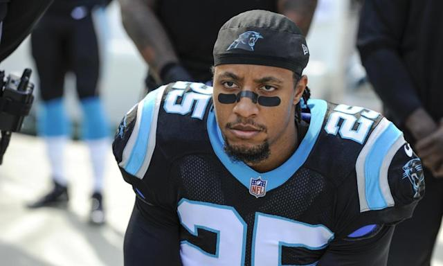 "<span class=""element-image__caption"">Panthers safety <a class=""link rapid-noclick-resp"" href=""/nfl/players/26641/"" data-ylk=""slk:Eric Reid"">Eric Reid</a> says he's been drug tested seven times in 11 weeks since his return to the NFL</span> <span class=""element-image__credit"">Photograph: Mike McCarn/AP</span>"