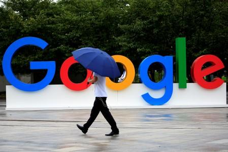 FILE PHOTO: A Google sign is seen during the WAIC (World Artificial Intelligence Conference) in Shanghai