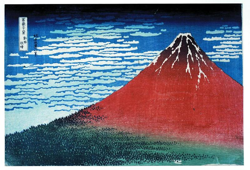 'Clear day with a southern breeze' ('Red Fuji') from the Thirty-six Views of Mt Fuji, colour woodblock, 1831 (The trustees of the British Museum )